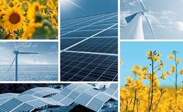 A collage depicting different renewable energy sources