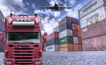 Different supply transportation methods: A truck, a plane, several cargo containers