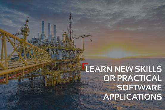"Offshore oil rig with text: ""Learn new skills or practical software applications"""
