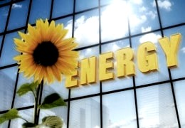 "Image depicts a sunflower and lettering ""ENERGY"""